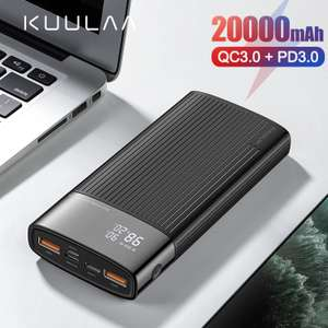 Power Bank 20000mAh USB Type C PD Fast Charging + Quick Charge 3.0 £14.29 @ AliExpress kuulaa Official Store