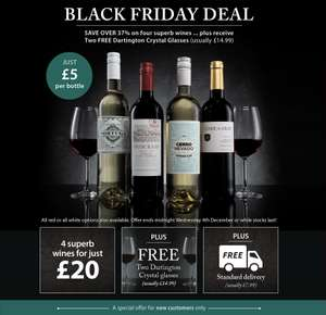 4 Bottles of Wine and 2 Glasses £20 @ Averys
