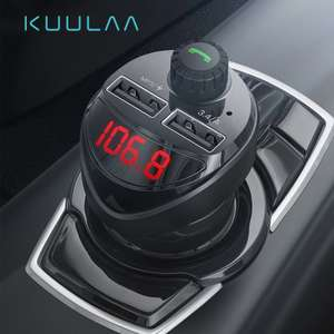 KUULAA Car Charger with FM Transmitter Bluetooth Receiver Audio MP3 Player TF Card Car Kit 3.4A Dual USB Car Phone Charger £3.35 @AliExpress