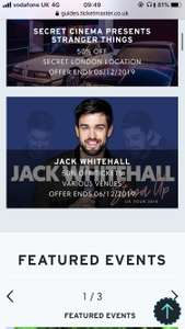 2-4-1 to lots of events in ticketmaster inc Jack Whitehall and Premiership Rugby Final