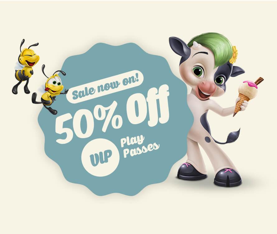 The Ice Cream Farm Half Price VIP Play Pass - 100 Plays - £50 + £2 post