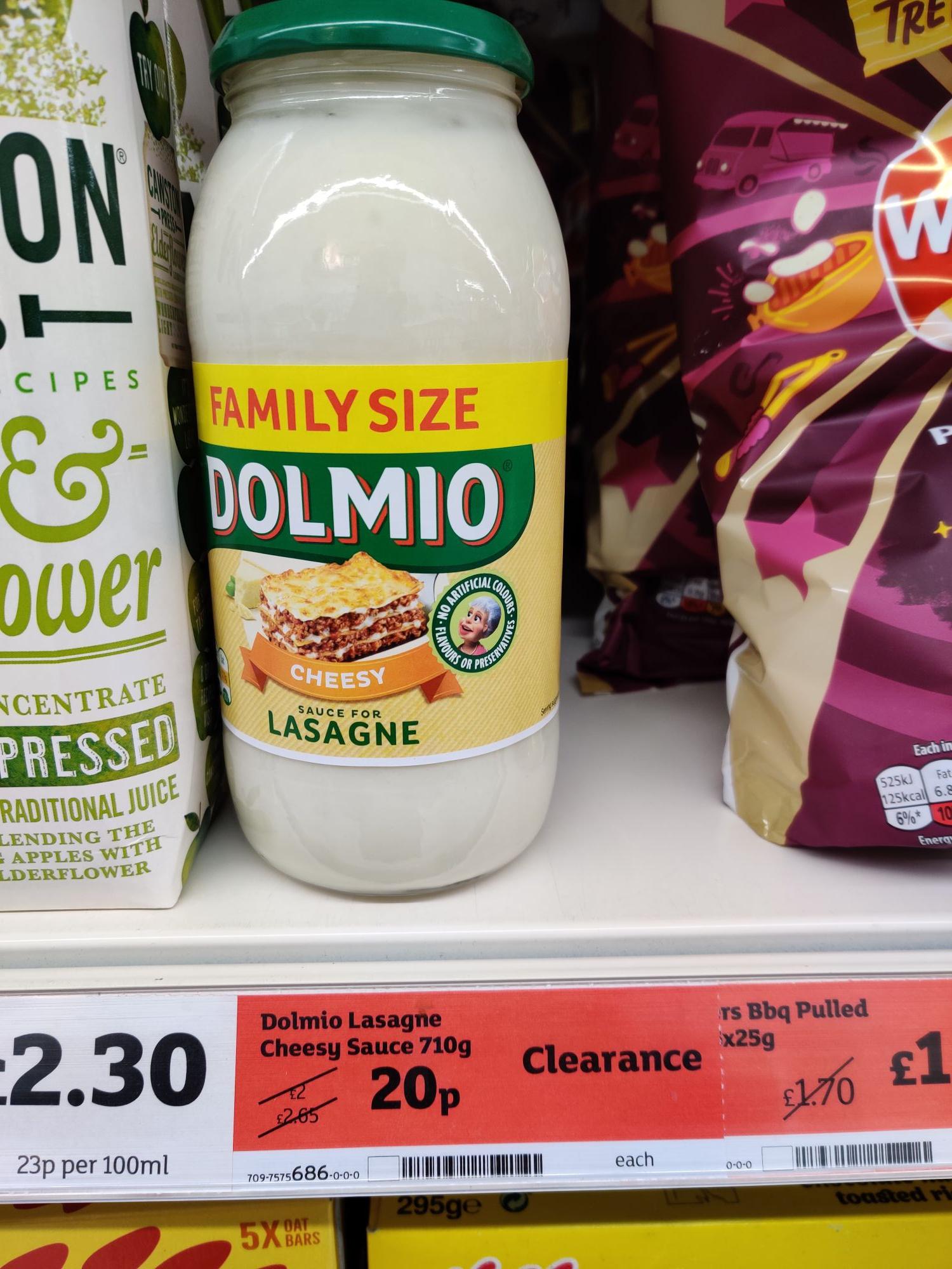 Family Size Dolmio Cheesy sauce for lasagne 710g 20p @ Sainsburys Dundee