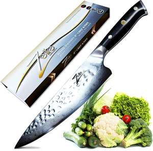ZELITE Chef Knife 8 Inch, Japanese AUS10 High Carbon Stainless Steel Tsuchime Finish £59.38 (Lightning Deal) @ Amazon Fufilled By Zelite