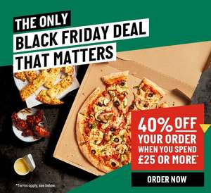 40% off when you spend £25 or more @ Papa John