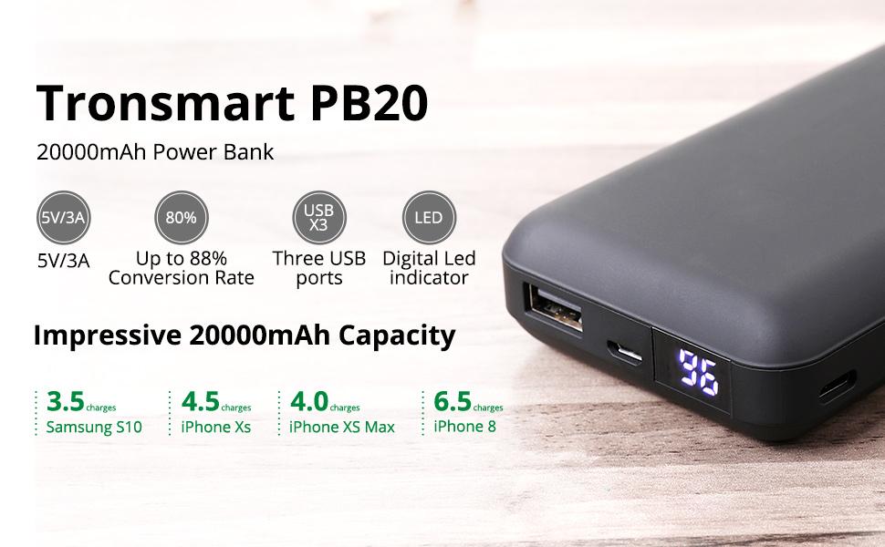 Tronsmart Fast Charging Power bank 20000mAh for £17.76 for Prime /+4.49 NP @ Amazon / Tronsmart - FBA
