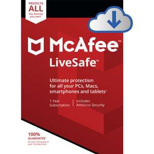 McAfee LiveSafe Digital Download for Unlimited Devices - 1 Year £5 @ AO