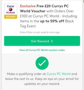 Currys £20 voucher back with purchase over £100 @ Vouchercodes