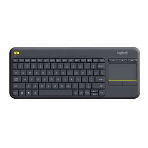 Logitech K400 Plus Wireless Livingroom Keyboard with Touchpad-QWERTY UK Layout - Black for £13.99 Prime/+£4.49 Non Prime @ Amazon UK