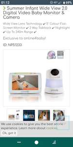 Summer Infant Wide View 2.0 Digital Video Baby Monitor & Camera £59.95 @ Online4baby