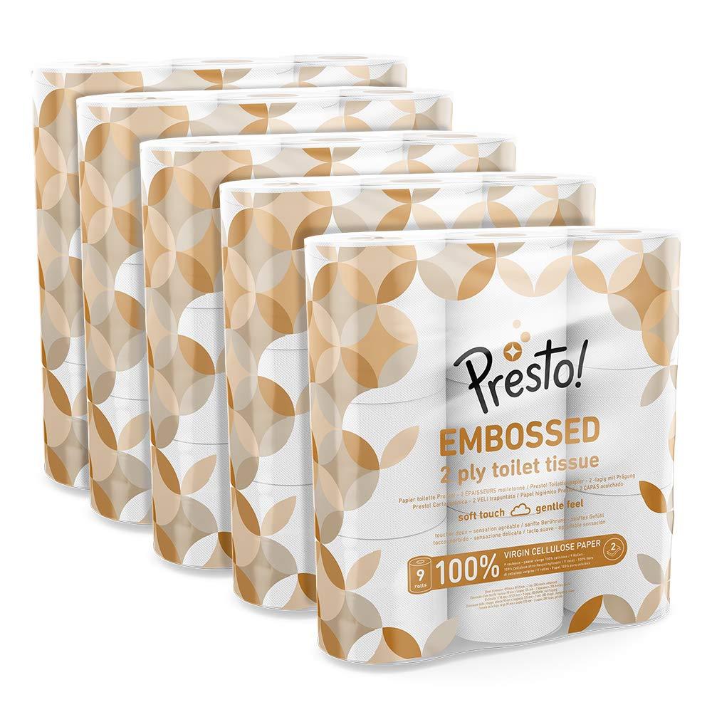 Amazon Brand - Presto! 2-Ply Embossed Toilet Tissues, 45 Rolls £11.99 (+£4.49 NP) @ Amazon