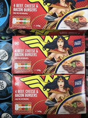 Fultons Foods - DC Comics 4 Beef, Cheese & Bacon Burgers 2 for £1 !!!