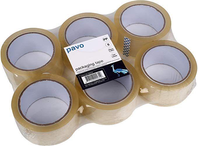 PAVO Premium 50 mm x 66 m Polypropylene Packing Tape - Transparent (Pack of 6) - £3.60 - Add on item at Amazon