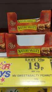 Sweet and salty peanut butter nature valley bars 19 p in Home Bargains (B'ham)