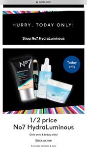 No7 HydraLuminous Water Surge Gel Creams ONLY FOR TODAY £7 @ Boots