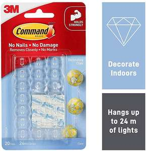 Command 17026CLR Decoration Clips for Christmas and Fairy Light - Clear at Amazon £2.99 Prime (£1.99 non Prime)