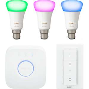 Philips Hue Starter Kit (Bayonet Fittings) Price Match + voucher to get 5 bulbs, bridge and dimmer for £139 (£114.99 via pricematch) @ AO