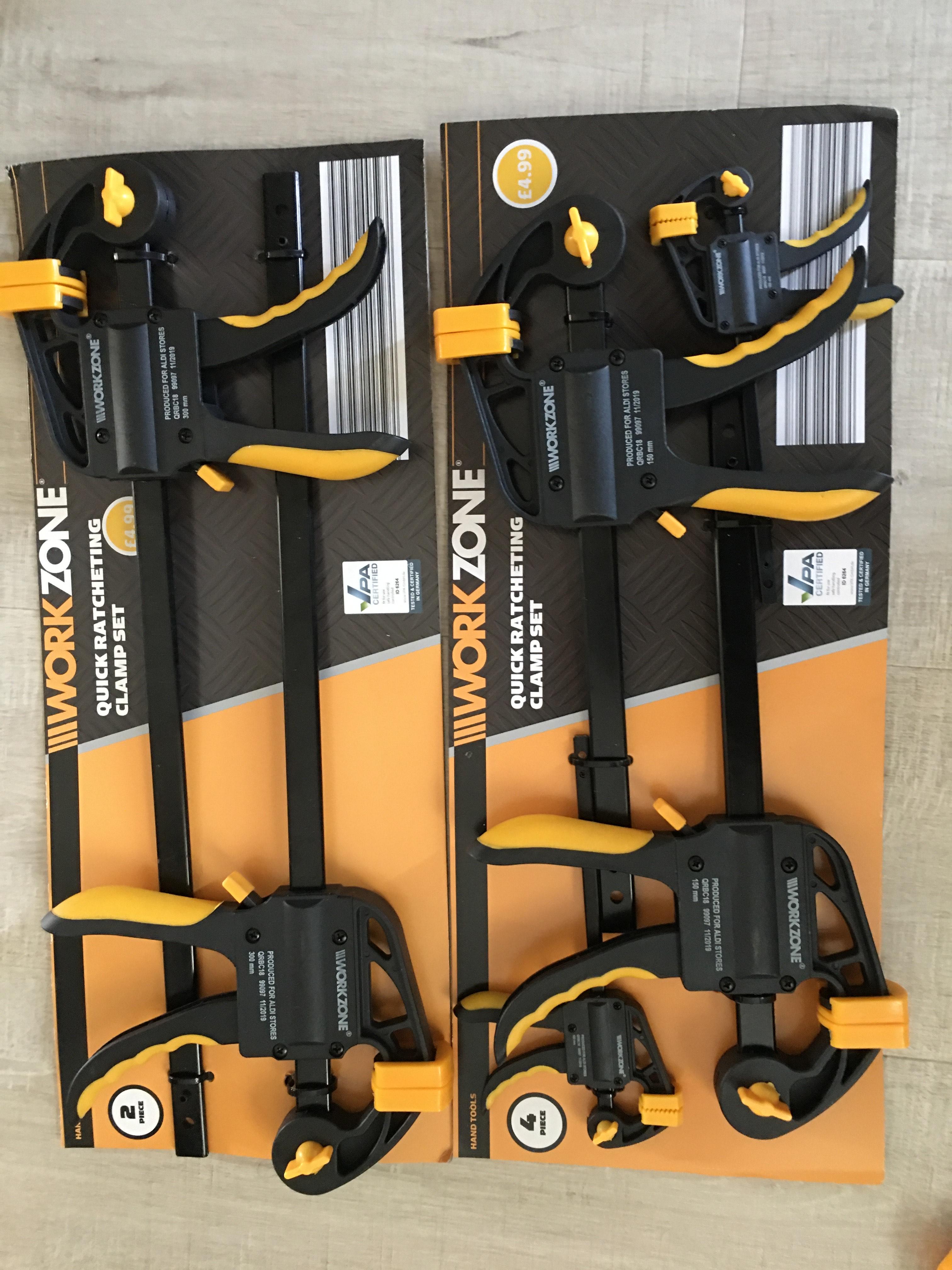 Work zone quick ratcheting clamp set £4.99 instore @ Aldi Milton Keynes