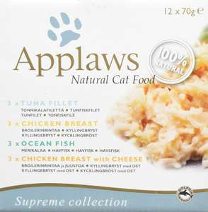 Applaws 100% Natural Wet Cat Food 70g Multipack Mixed12 x 70g Tins £9.49 Prime / £13.98 Non Prime at Amazon