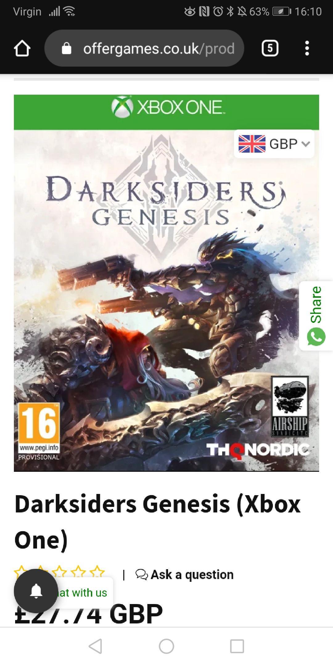 Darksiders Genesis Xbox One £27.74 @ 365games.co.uk