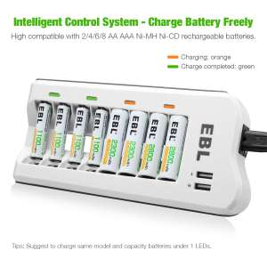 EBL 808U Battery Charger with USB Ports (Inc 4x2800mAh AA and 4x1100mAh AA) £16.49 Amazon Prime / £20.98 NP Sold by EBL Official and FBA