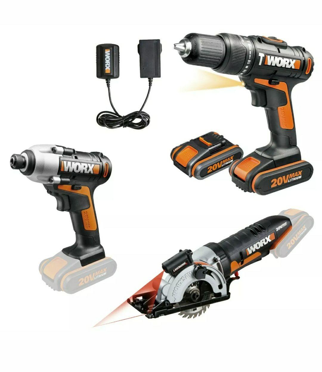 WORX WX933 18V DIY Tool Kit: Combi Drill, Impact Driver and Worxsaw £119.95 delivered @ positecworx eBay
