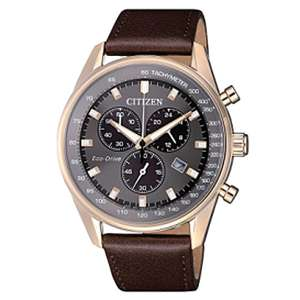 Citizen AT2393-17H Men's Caliber Eco-Drive Chronograph Date Leather Strap Watch £149.50 at John Lewis and Partners