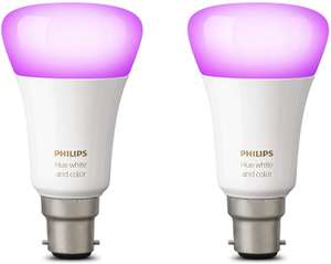 Philips Hue Ambiance B22 Twin Pack (Works with Alexa), Synthetics, 9.5 W, White and Colour [Energy Class A+] at Amazon £55.44