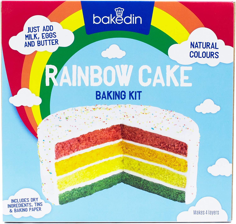 Bakedin Rainbow Cake Baking Kit 1000g Includes Coloured Cake Mixes, 4 Baking Tins Sprinkles, Cake Board at Amazon £6 Prime (£3.49 non Prime)