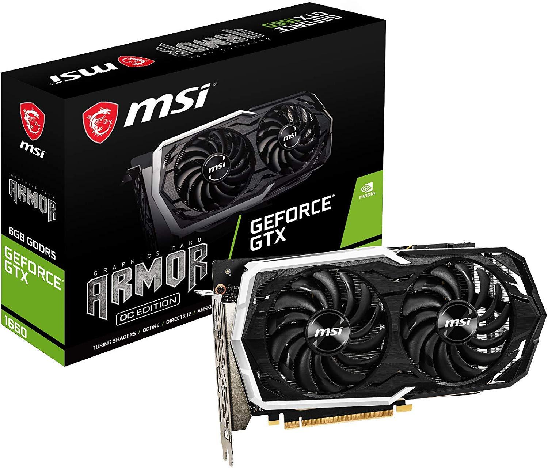 MSI Nvidia GeForce GTX 1660 Armor 6G OC Graphics Card 6 GB GDDR5 @ Amazon for £179.99