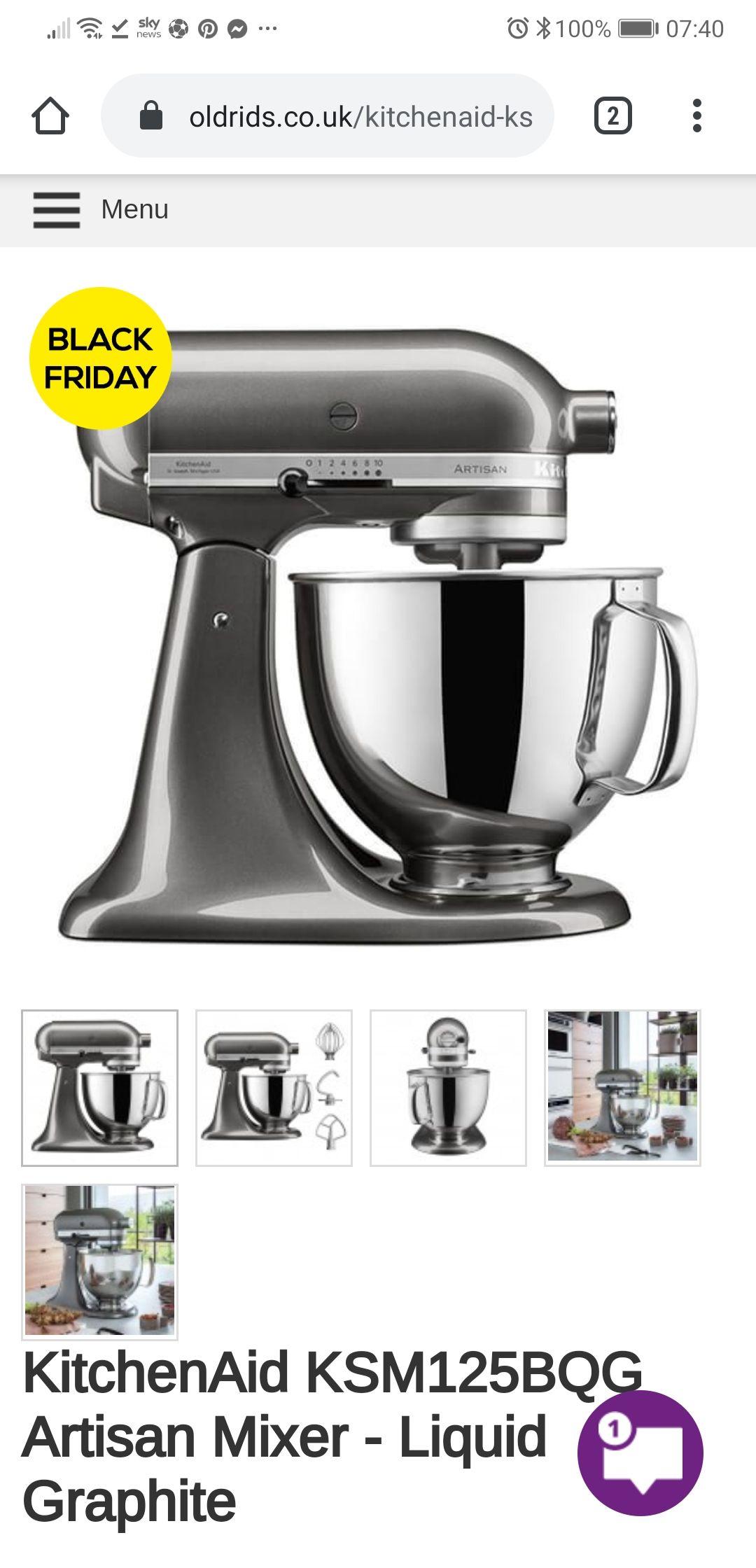 KitchenAid KSM125 Liquid Graphite Mixer £279 Oldrids & Downtown
