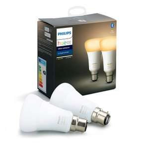 Philips Hue White Ambiance Smart Bulb Twin or Triple Pack LED [B22 Bayonet Cap] with Bluetooth £29.06 Amazon