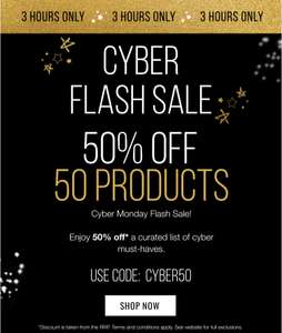 50 products 50% off 3 hour flash sale example womens stocking value £155 now £24 @ look fantastic (email invite)