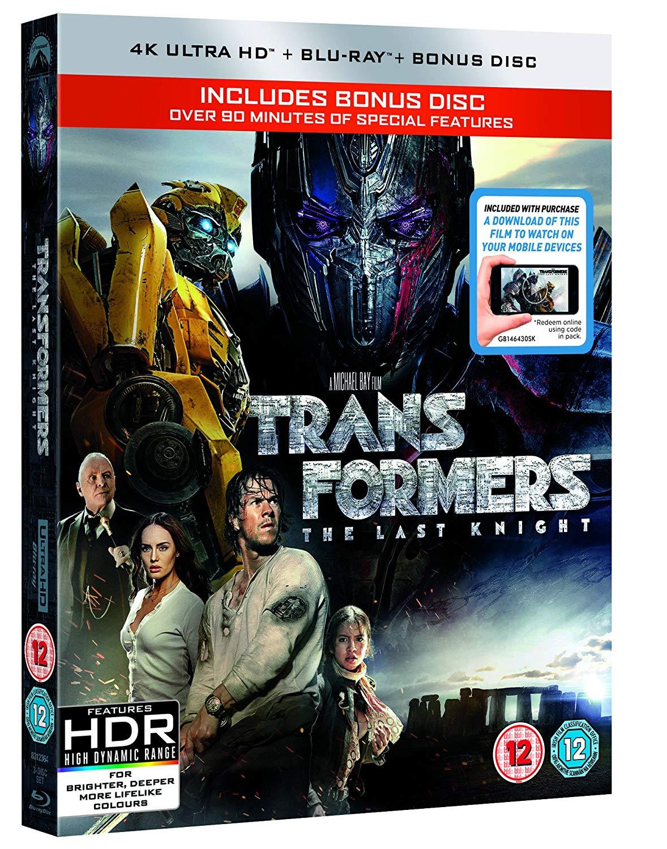 Transformers: The Last Knight (4k + BD + Bonus disc BD) £9.48 (Prime) £12.47 (Non Prime) @ amazon.co.uk