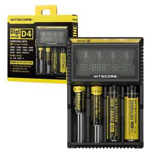 Nitecore D4 Multi Digi-Charger LCD Display Intelligent Charger for NiMH, Li-Ion IMR LiFePO4 Batteries £17.99 at 7dayShop