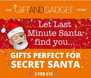 Many 'gifts' 3 for £15 at The Gift and Gadget store. (Free p&p on orders over £5)