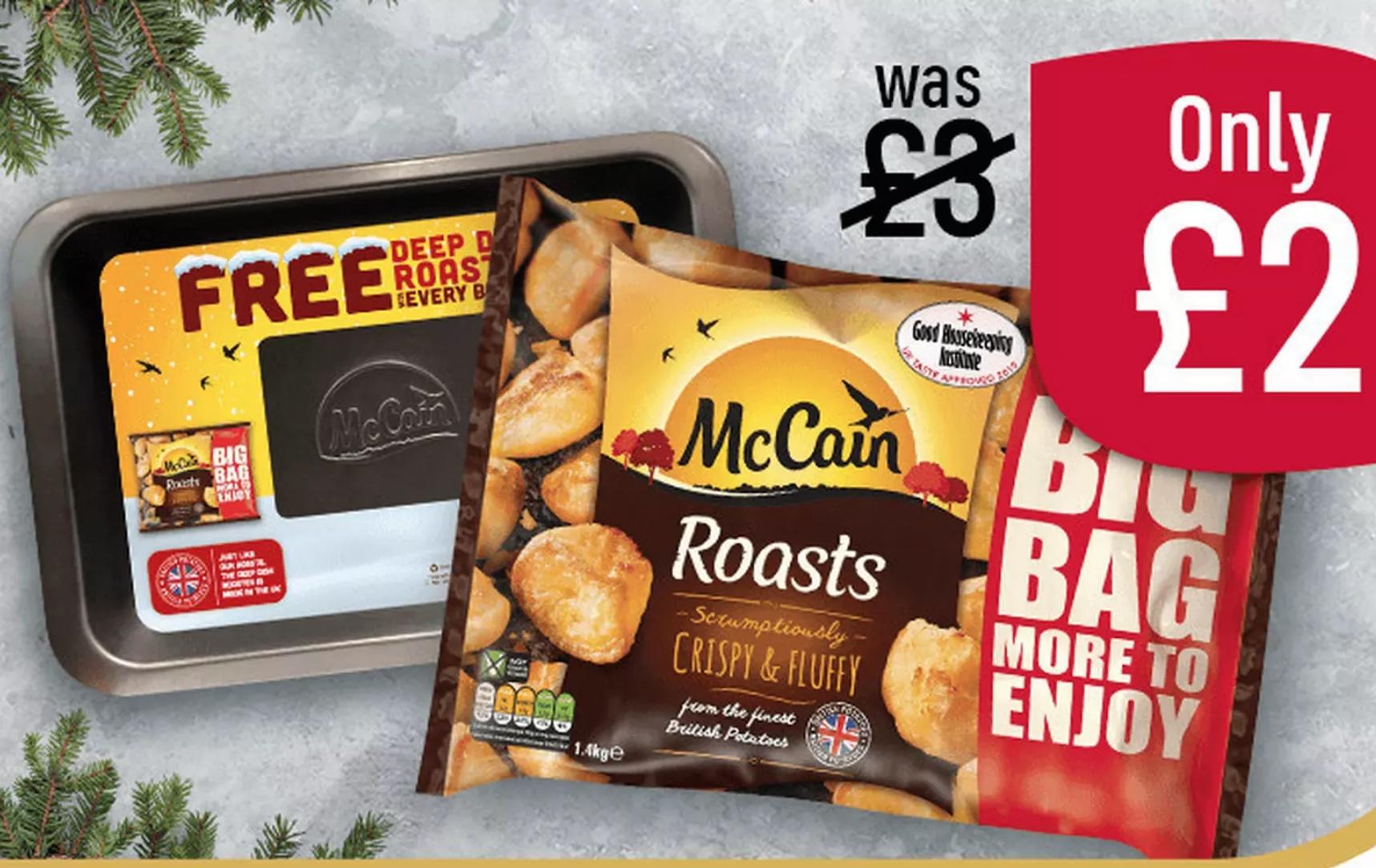 McCain Frozen Roast Potatoes 1.4kg + Free McCain Roasting Tray + Free SIM cards = £2 @ Iceland