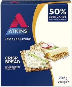 Atkins Low Carb, High Fibre Crispbread, Multipack 100 g (Pack of 6) - £8.96 (Prime) / £13.45 (non Prime) at Amazon