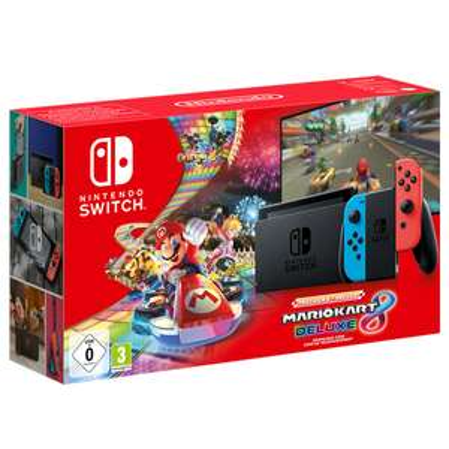 Nintendo Switch (Neon Blue/Neon Red) Mario Kart 8 Deluxe Bundle (New model - improved Battery life) £279.99 @ Nintendo UK + 2 year warranty