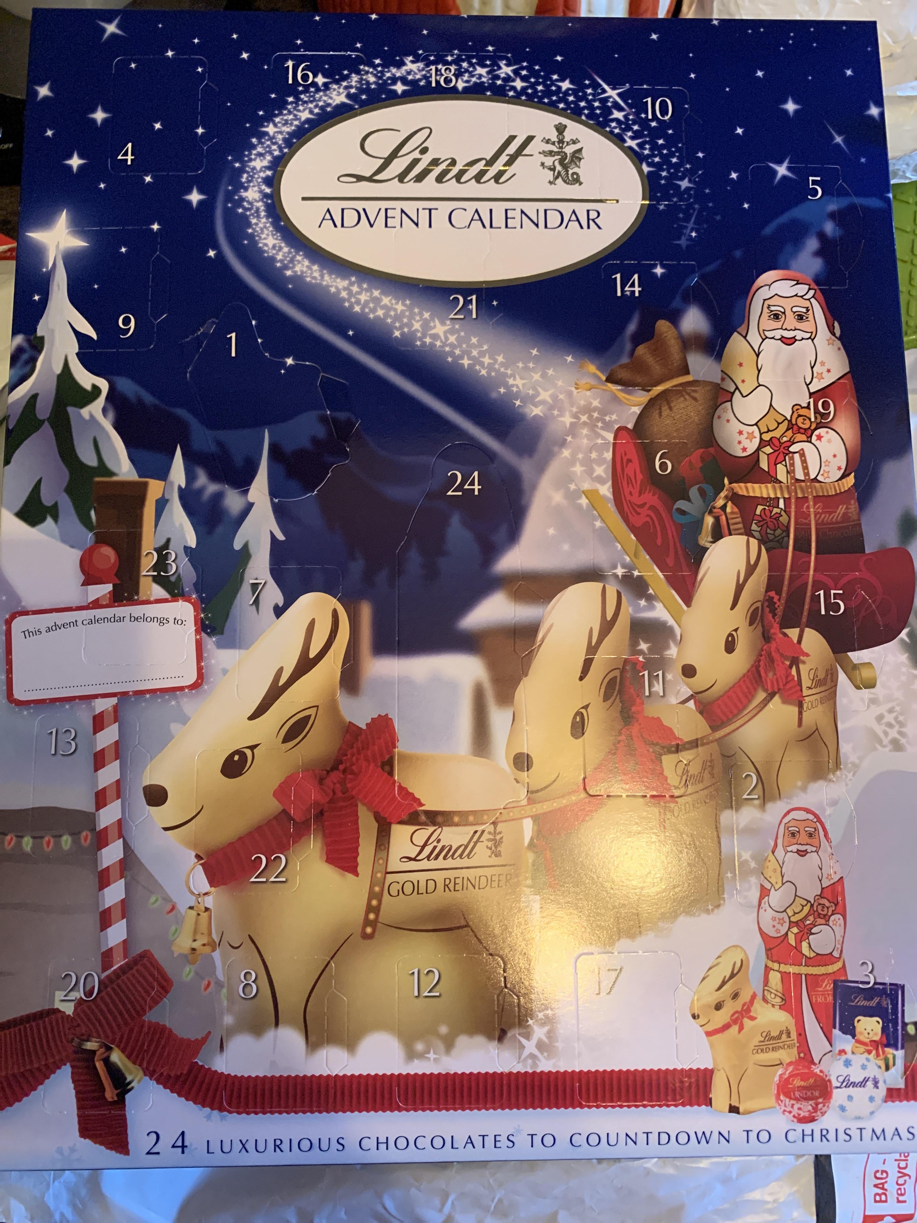Lindt calendar £1.25 Tesco