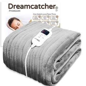 Dreamcatcher Luxurious Electric Heated Throw, Supersize 200 x 130cm Soft Fleece Grey Throw Blanket £37.90 @ Futura Direct