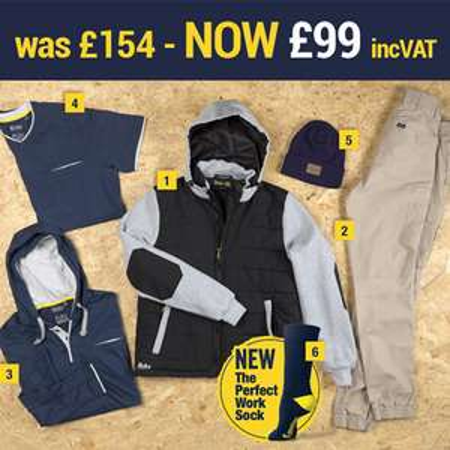 Bisley Workwear Bundle - Hooded Puffer Jacket / Trousers / Hooded Long Sleeve Shirt / Cotton T-shirt / 3x Boot Socks / Beanie £99.98 @ TCD
