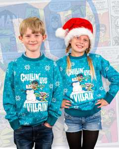 Official DC Comics 'Chillin' like a Villain' Kids Christmas Knitted Jumper £12.99 delivered using code @ Geekstore
