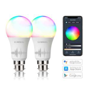 Smart WiFi Bulbs B22 Bayonet 2 Pack by LUMIMAN COLOUR 7.5W, Sold by LumimanSmartHome / FBA - £15.99 Prime (+£4.49 non prime)