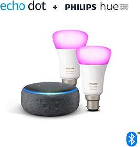 Echo Dot (3rd Gen) + Philips hue white and colour Twin Pack (B22) Bluetooth no hub required - £61.99 @ Amazon