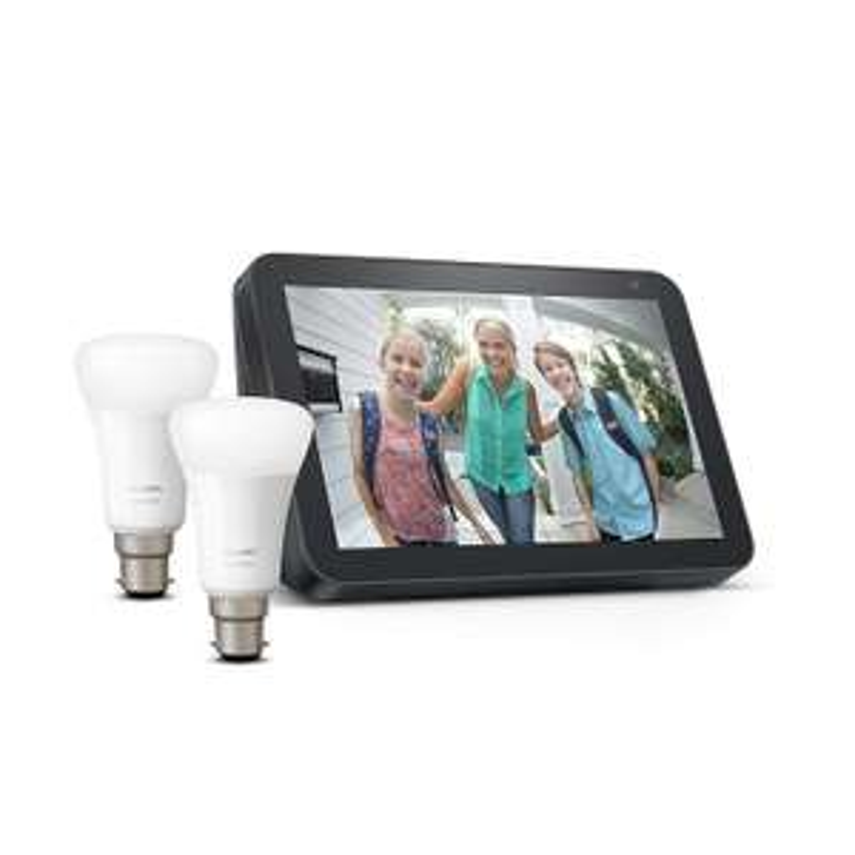 Echo Show 8, Charcoal Fabric + Philips Hue White Smart Bulb Twin Pack LED (B22) £84.98 @ Amazon