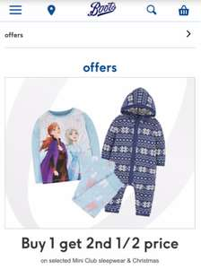 Buy 1 get 2nd 1/2 price on selected mini club sleepwear & Christmas at Boots - free Order & Collect