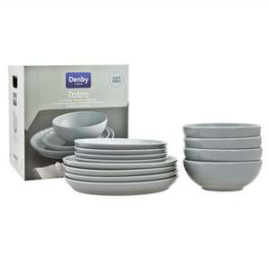Denby Intro 12 Piece Tableware Set - Soft Grey £50 Homebase - free delivery or store collection