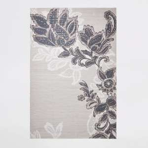Recycled large grey floral printed rug - £20 + free Click and Collect / £3.99 delivery @ River Island