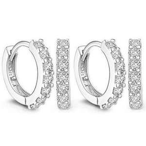 Hoop Earrings with Swarovski Crystals - 1 pair £4.48 delivered / 2 pairs £7.98 delivered @ Groupon