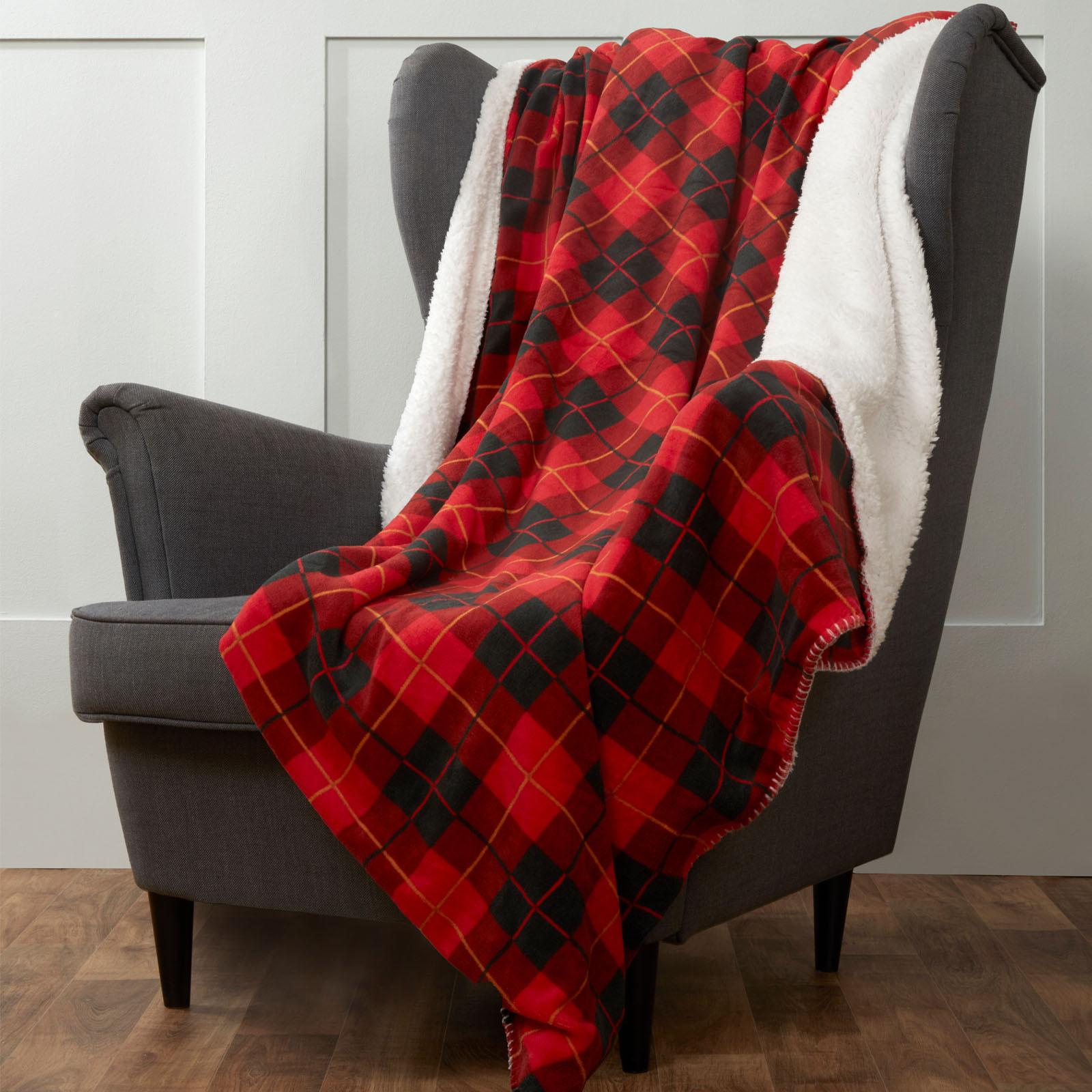 Dream scene Large Tartan Sherpa Flannel Fleece Blanket Check Red 150x180cm £8.99 @ Online Home Shop (£1.99 P&P)